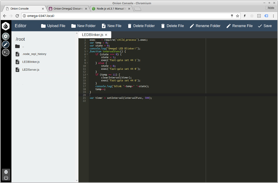 Getting started with the Onion Omega 2+ and Node js
